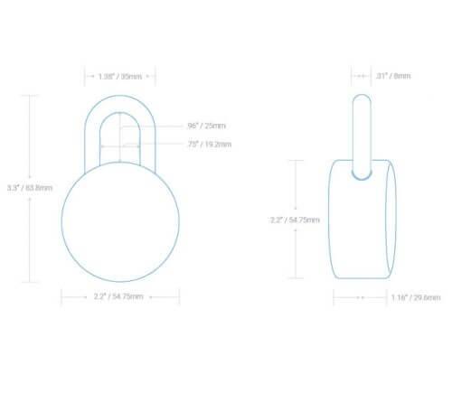 Dimension Diagram of Noke Padlock