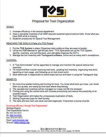 Snapshot of Tool Organization Service Proposal